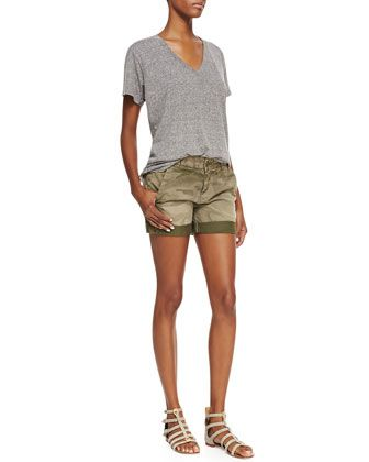 Current/Elliott Slub V-Neck Tee and Captain Rolled Camo Shorts - Bergdorf Goodman