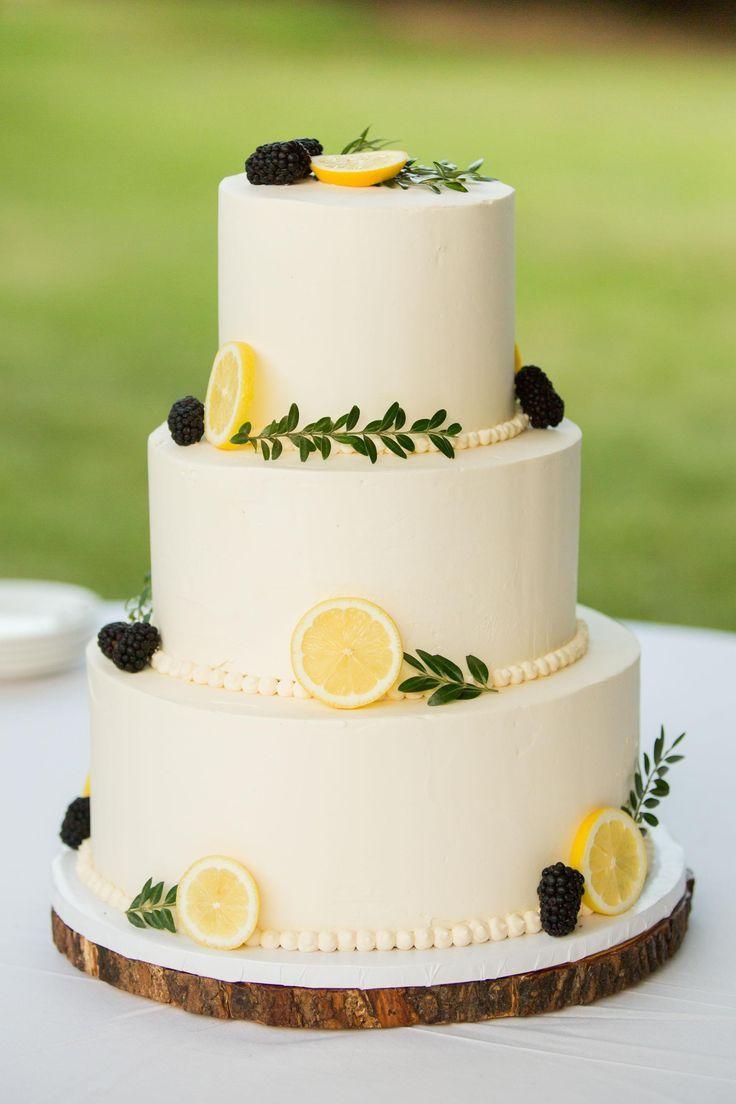 Summery wedding cake, blackberries & lemon slices, iced pearls, white buttercream, tree trunk base // Drake Photography