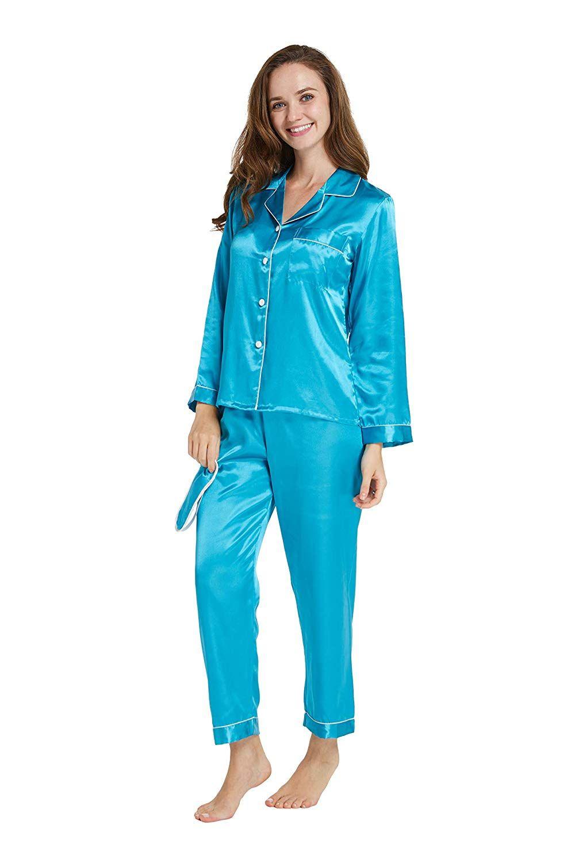 07e7fb7e7 TIMSOPHIA Satin Pyjama Set for Women - Silk Button Down Pyjama, Solid Color Long  Sleeve Nightwear Sleepwear Loungewear with Mask (Dblue, ...