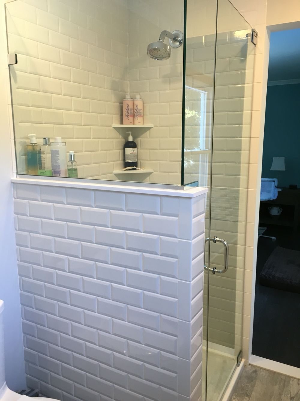 Our master bathroom shower with beveled subway tiles (Diy Bathroom ...