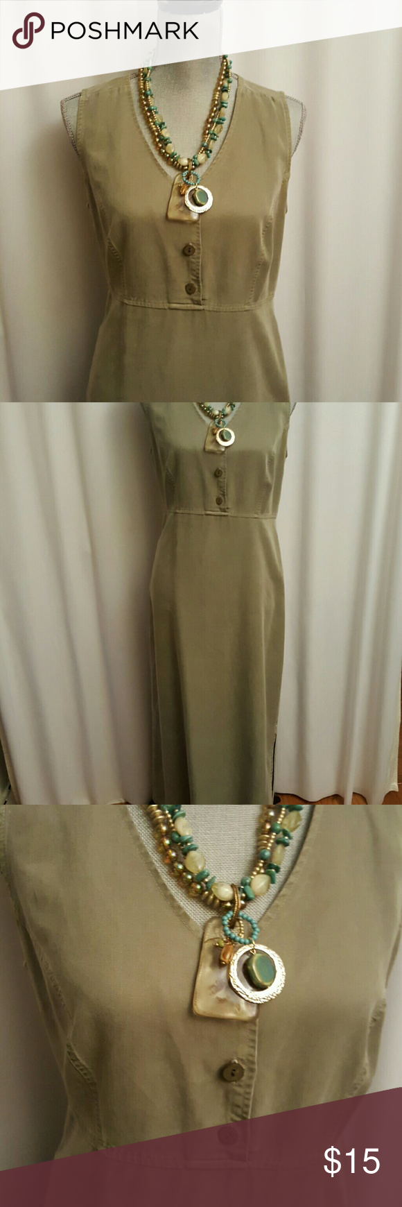 """PALE OLIVE CASUAL SLEEVELESS DRESS The pictures do not do justice to this dress, the fabric is Tencel/Lyocel, very soft with an almost suede-like appearance.  It is too small or I would keep it.  It has a slit on one side on the skirt.  It also matches the jacket I have for sale (you could bundle and save some $).  It's between a midi and a maxi, length shoulder to hem is 51.5"""" AKS Dresses"""