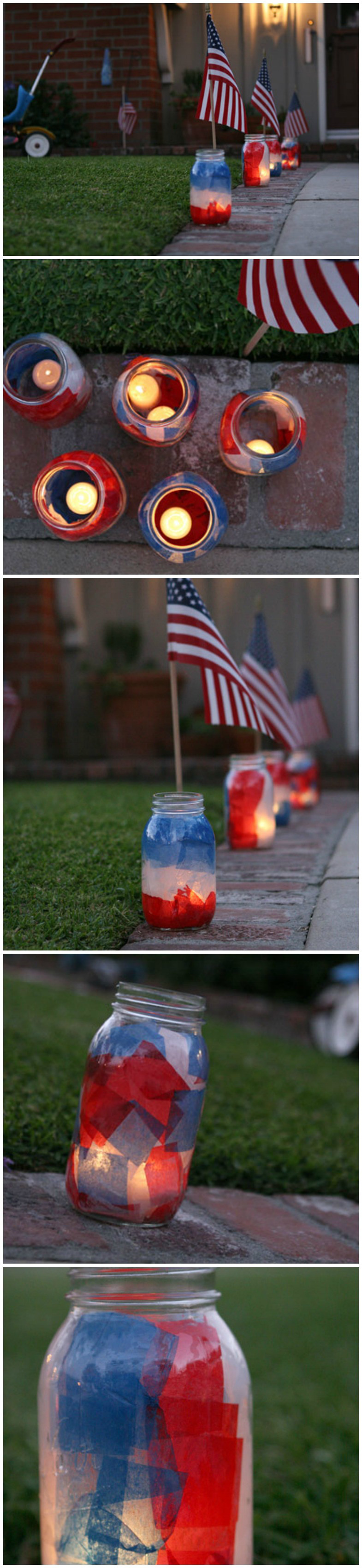 Diy patriotic mason jar luminaries jar craft and patriotic crafts