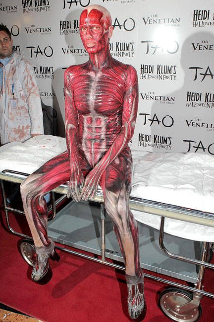 Heidi Klum in a  bodysuit  ... its a leotard. Where did she get this? Best Celebrity Halloween Costumes - Hollywood and Fashion Halloween Costumes - ELLE & The Best Celebrity Halloween Costumes Through the Years | Heidi klum ...