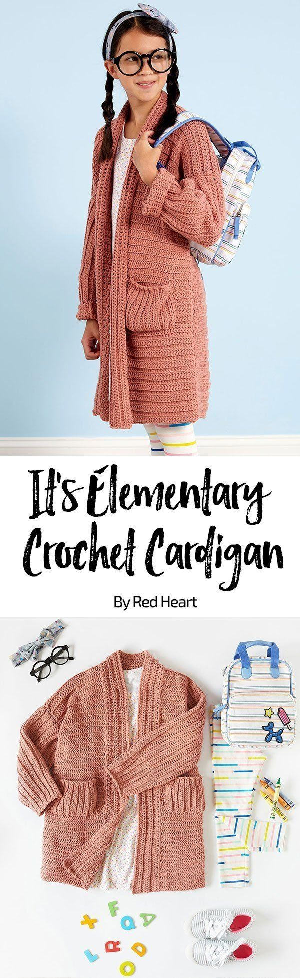 It's Elementary Crochet Cardigan free crochet pattern in Amore yarn.  Crochet this fashion-right longer length cardigan to keep her warm on cool mornings. She'll love the softness of this yarn that's available in a range of awesome colors.