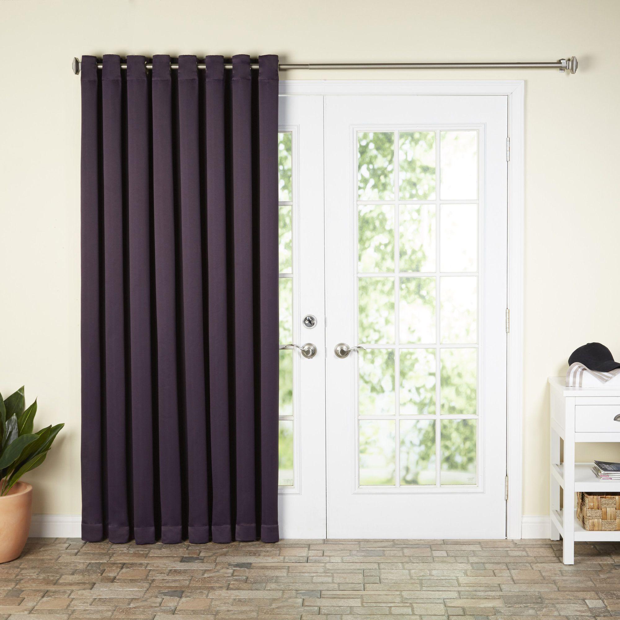 Basics Solid Blackout Grommet Single Patio Curtain Panel Patio Curtains Patio Door Curtains Single Patio Door