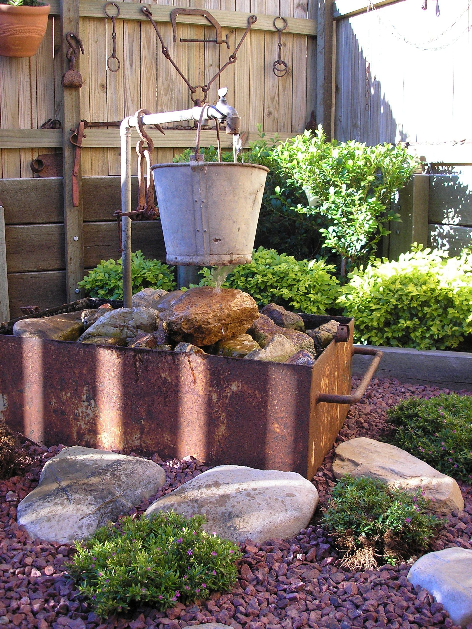 Liza S Bucket Water Feature Pre Loved Water Bucket