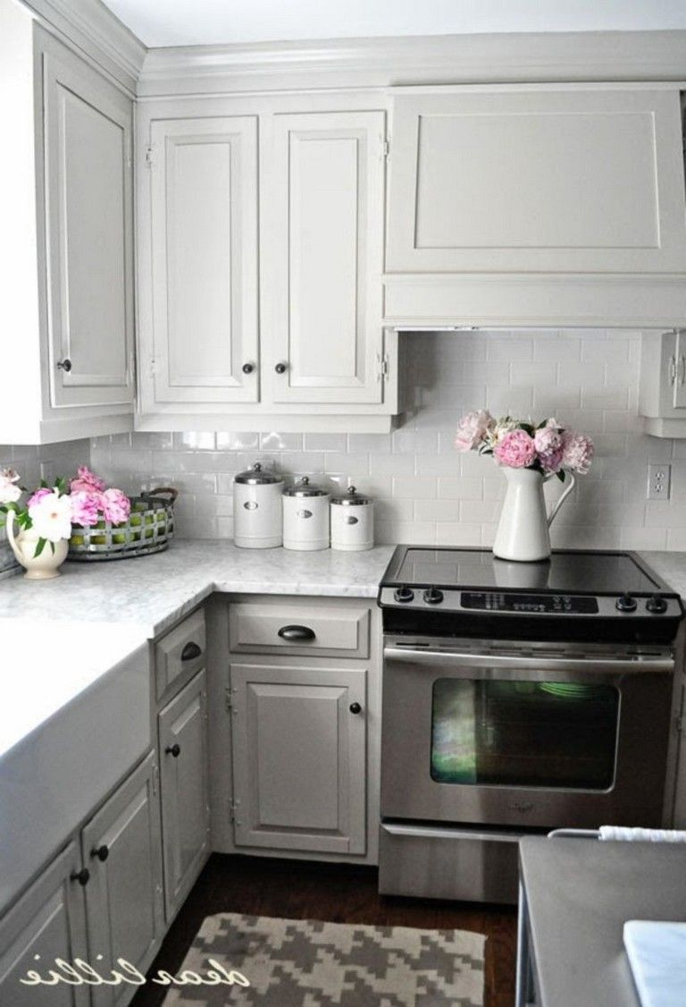 50 Outstanding Kitchen Backsplash Ideas Gray Cabinets Page 4 Of 55 Kitchen Remodel Small Kitchen Renovation New Kitchen Cabinets