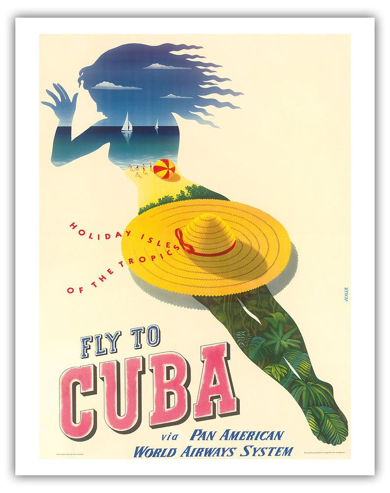 Cuba Island Tropics Paradise Vintage Airline Travel Art Poster Print ...