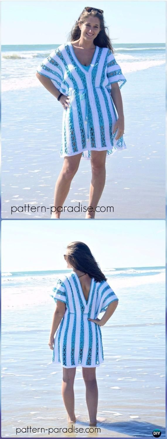 Crochet Beach Cover Up Free Patterns for Women | Pareos para playa ...