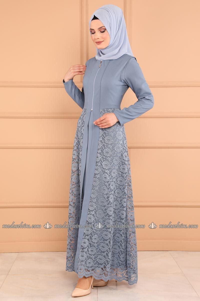 Moda Selvim Yelegi Dantel 2 Li Kombin Msw8642 S Bebe Mavisi Model Baju Wanita Pakaian Wanita Model Pakaian Hijab