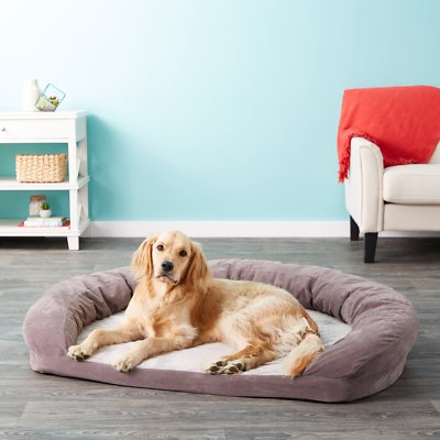 "Gray, XLarge 50 x 40 x 10"" Pet bed, Bolsters, Pets"