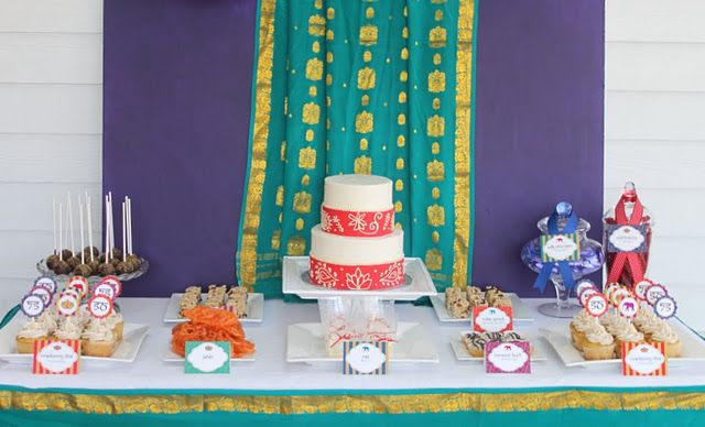 Dessert Table Sari Backdrop 50th Anniversary Party Anniversary Parties Bollywood Theme Party