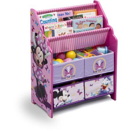 Book And Toy Organizer Disney Book And Toy Organizer Kids Book Organizer Book Rack And Toy Bin Fabric Storage Bin Bookcase Storage Chest Fe Toy Organization Minnie Mouse Room Decor Minnie