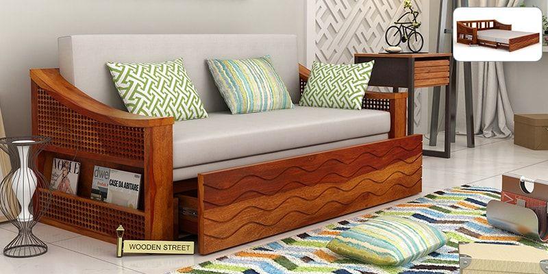 Thar sofa cum bed honey finish sofa cum bed for Sofa bed price in india