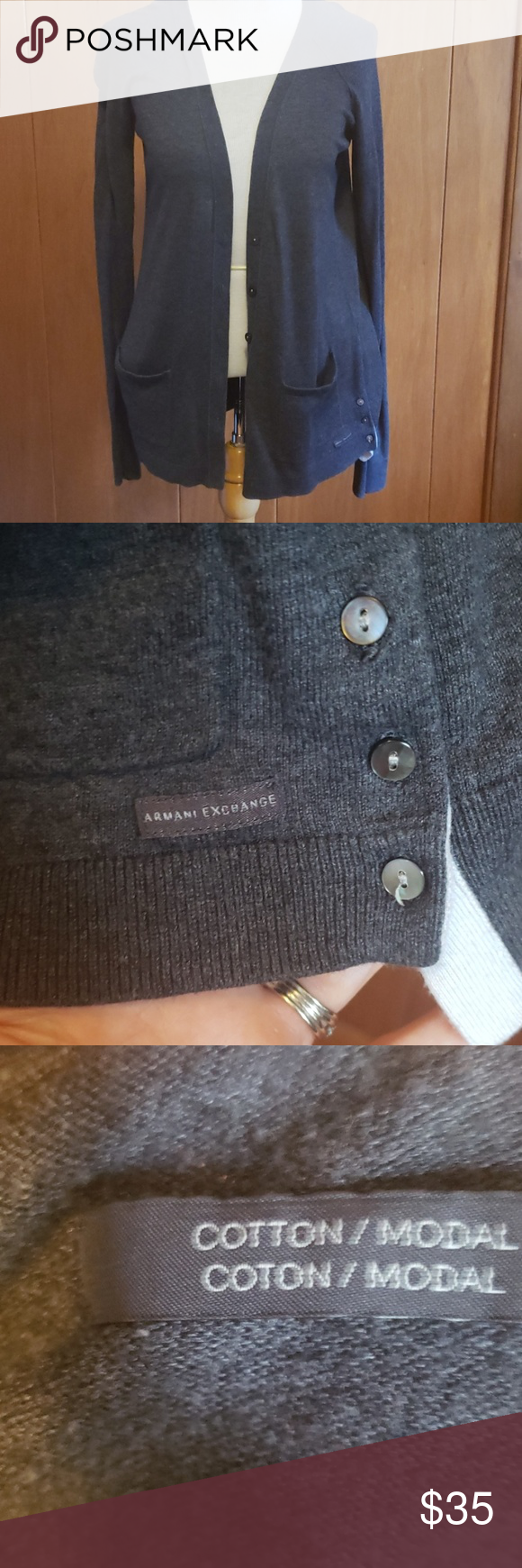 Armani Exchange Cardigan This is in excellent condition.  The size tag has been ...#armani #cardigan #condition #excellent #exchange #size #tag