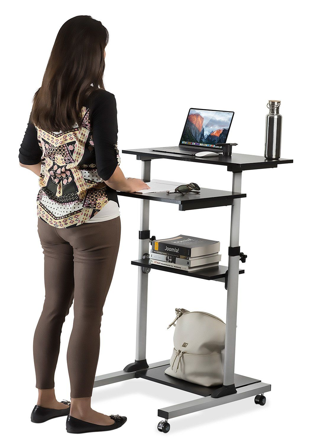 sale retailer 0b276 7e98a Mount-It! Mobile Stand Up Desk / Height Adjustable Computer ...