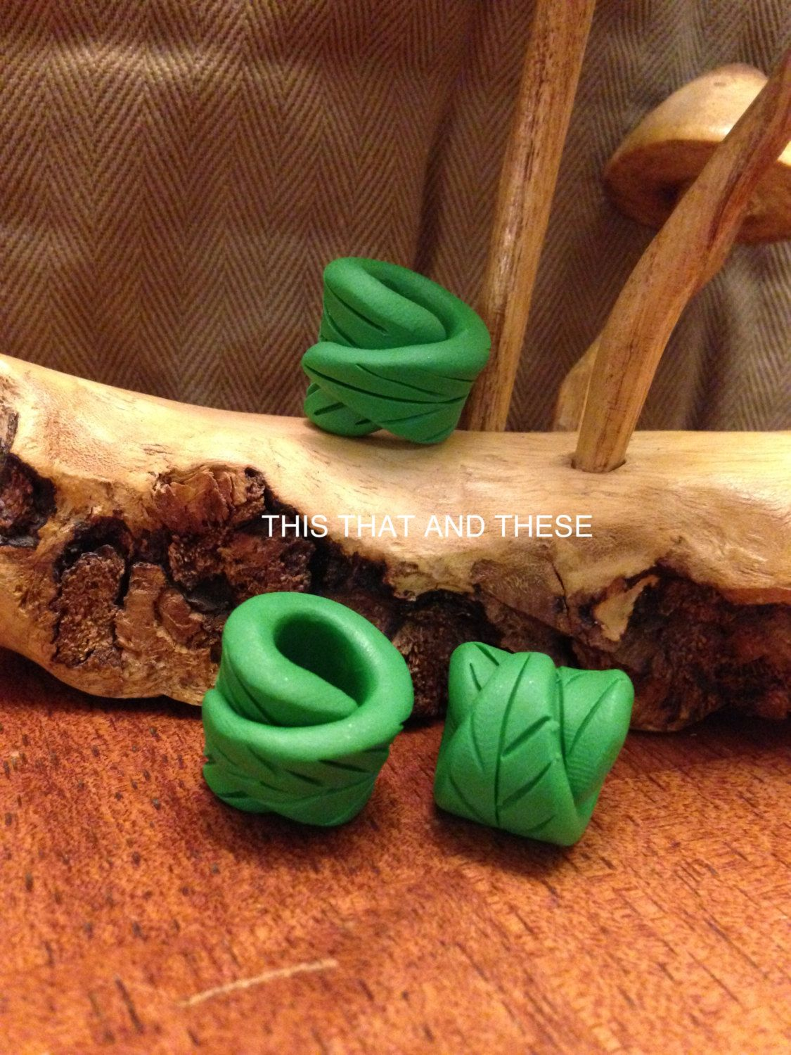 Woodland leaf dread bead by thisthatandthese on Etsy, $3.00