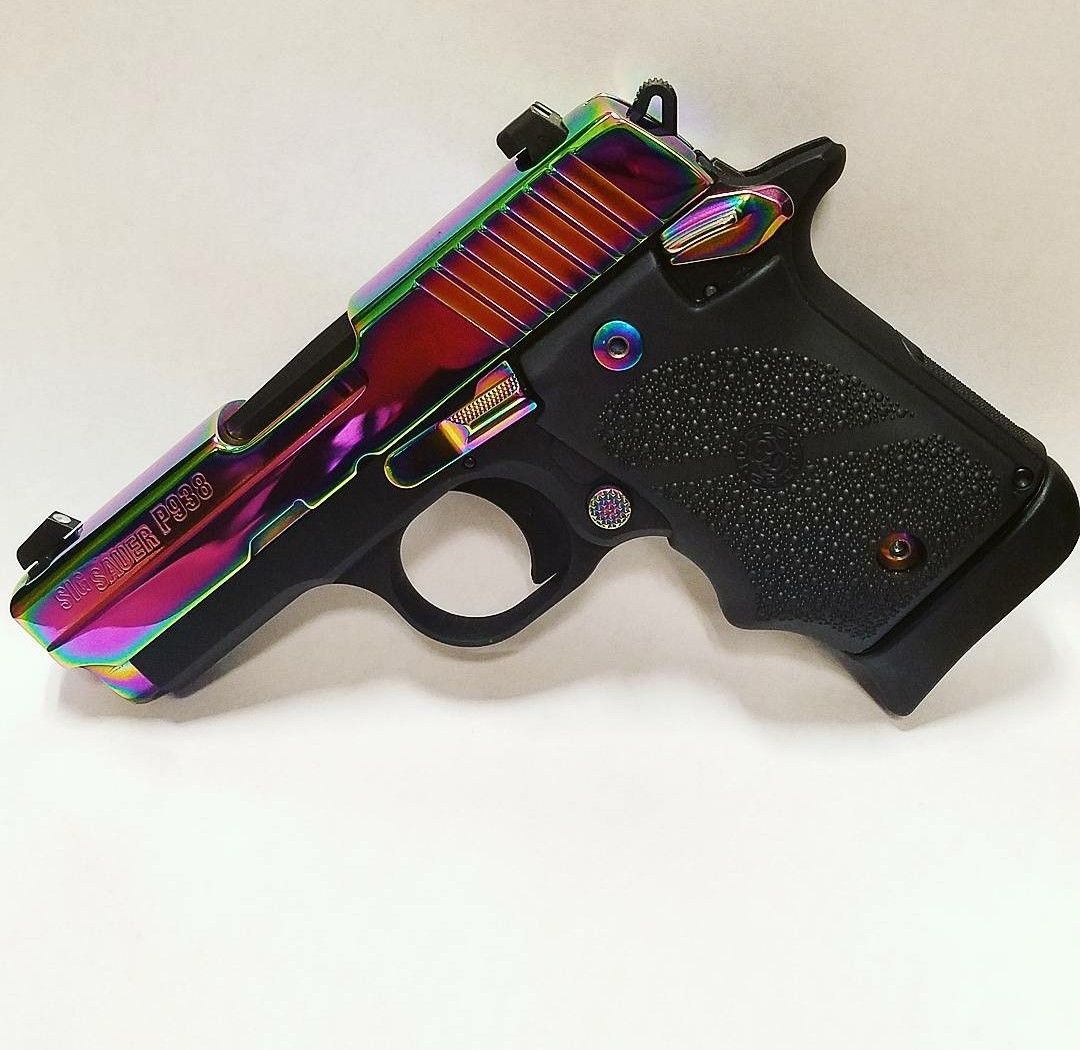 My Sig Sauer P938, 9mm, Rainbow finish, night sites