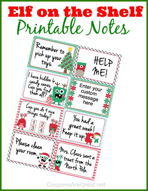 Free Elf On The Shelf Printable Notes There Is Even A Really Cool