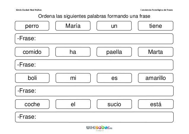 Resultado de imagen de construir frases con palabras