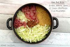 One pot: riz, dinde, bacon, chou et sauce crémeuse à la moutarde
