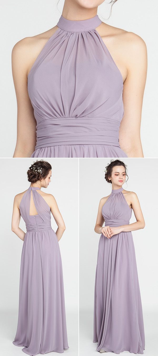 Pink multiway bridesmaid dress  Long Chiffon Bridesmaid Dress with Halter Neckline TBQP  Neckline
