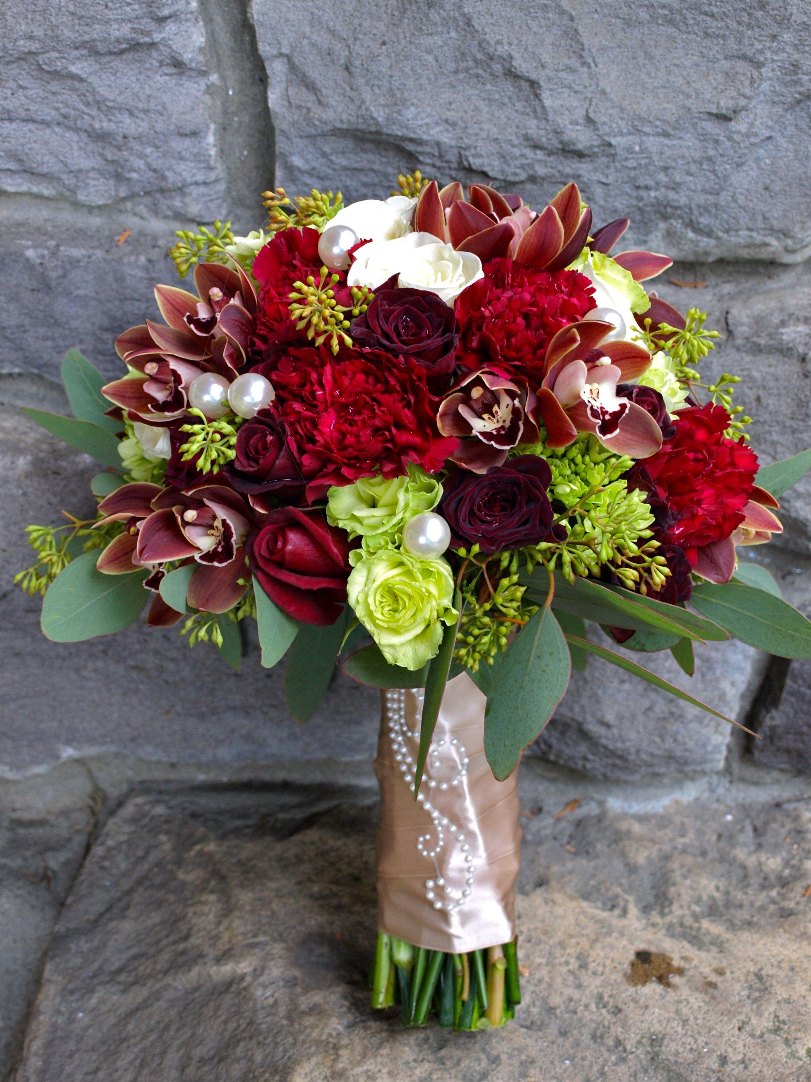 Burgundy, Green and Ivory Ivory wedding flowers, Wedding