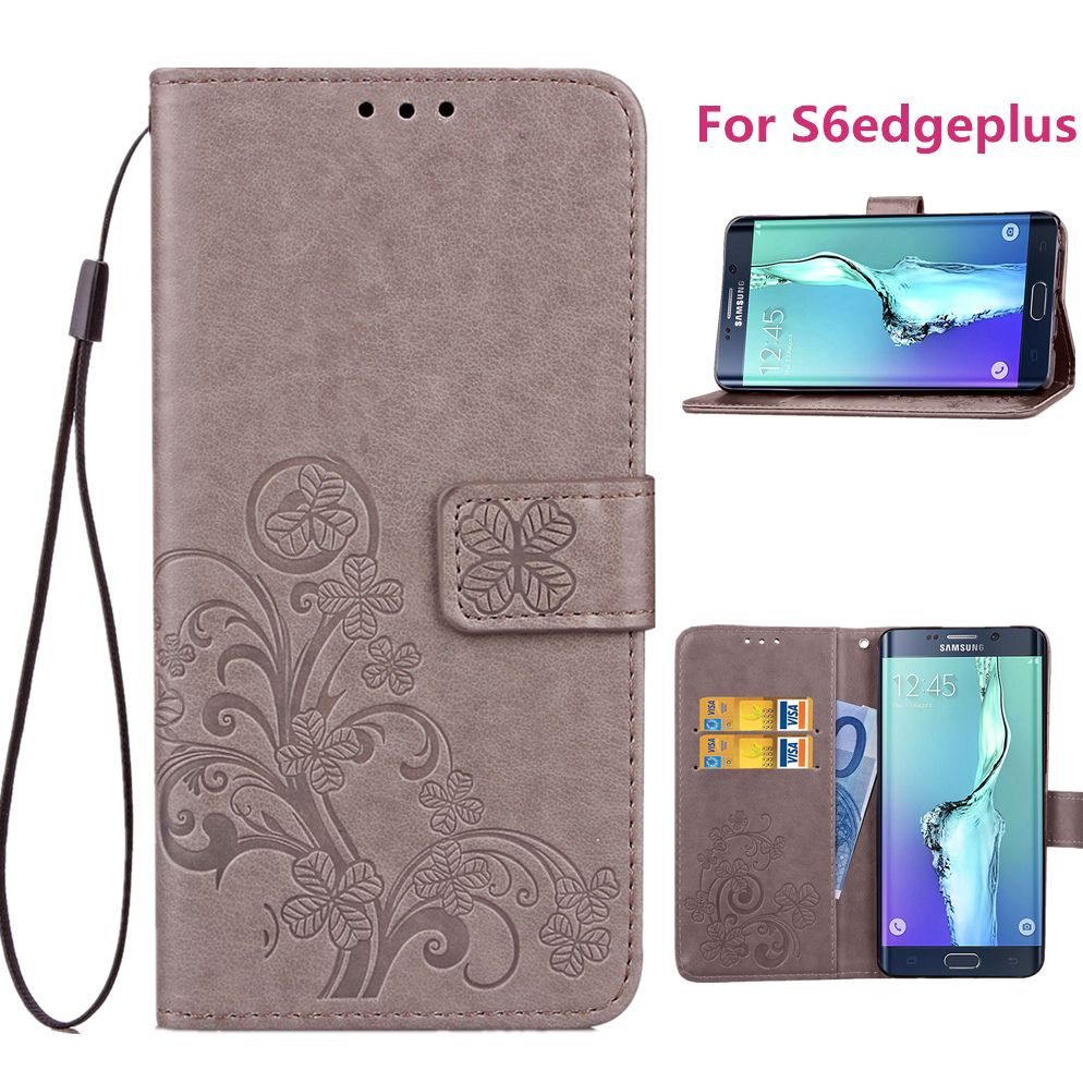 """Luxury PU leather phone case for Samsung Galaxy S6 Edge Plus (5.7"""") With Card Holder Cover Blue Black Brown Gray Purple Rose"""