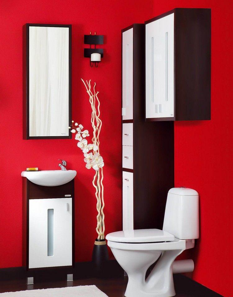 Mobilier salle bain de petite taille en bois fonc et blanc neige et peinture rouge salle de - Salle de bain petite taille ...