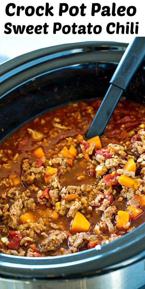 Crock Pot Paleo Sweet Potato Chili #healthy #sweetpotato #paleo #lowcarb #slowco... ,  #CHILI #crock #crockpotchilihealthy #Healthy #lowcarb #Paleo #pot #potato #slowco #Sweet #sweetpotato