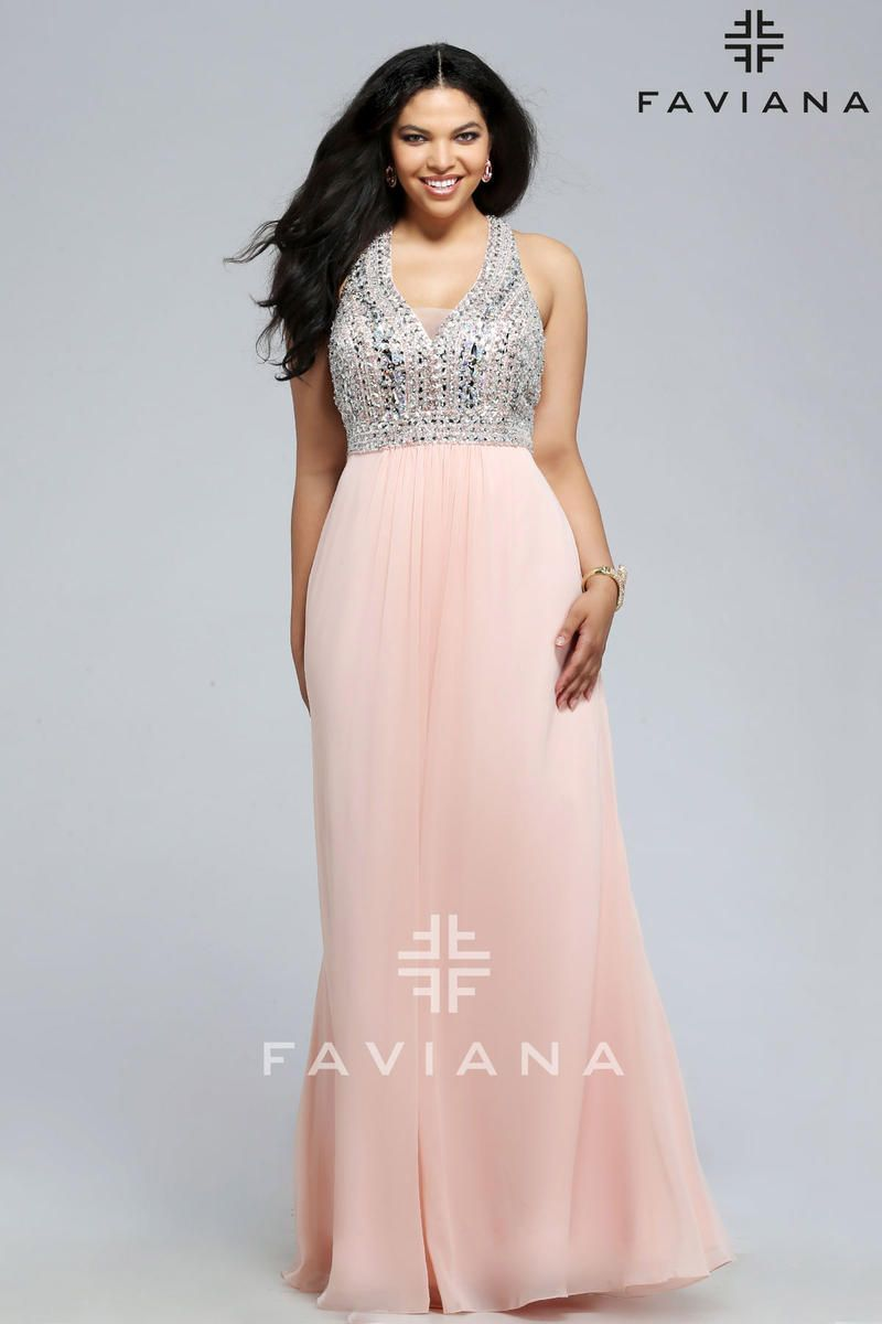 Faviana 9388 Plus Size V Neck Beaded Chiffon Gown | Pinterest ...