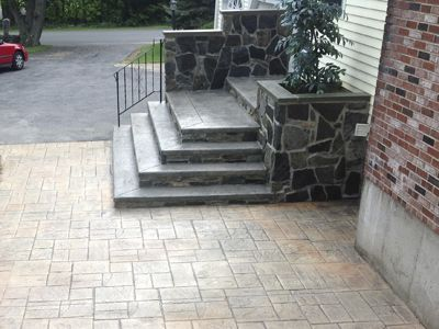 Colored Cement Patio And Steps   2013 Decorative Concrete Awards Stamped  Category Entry Patio And Steps