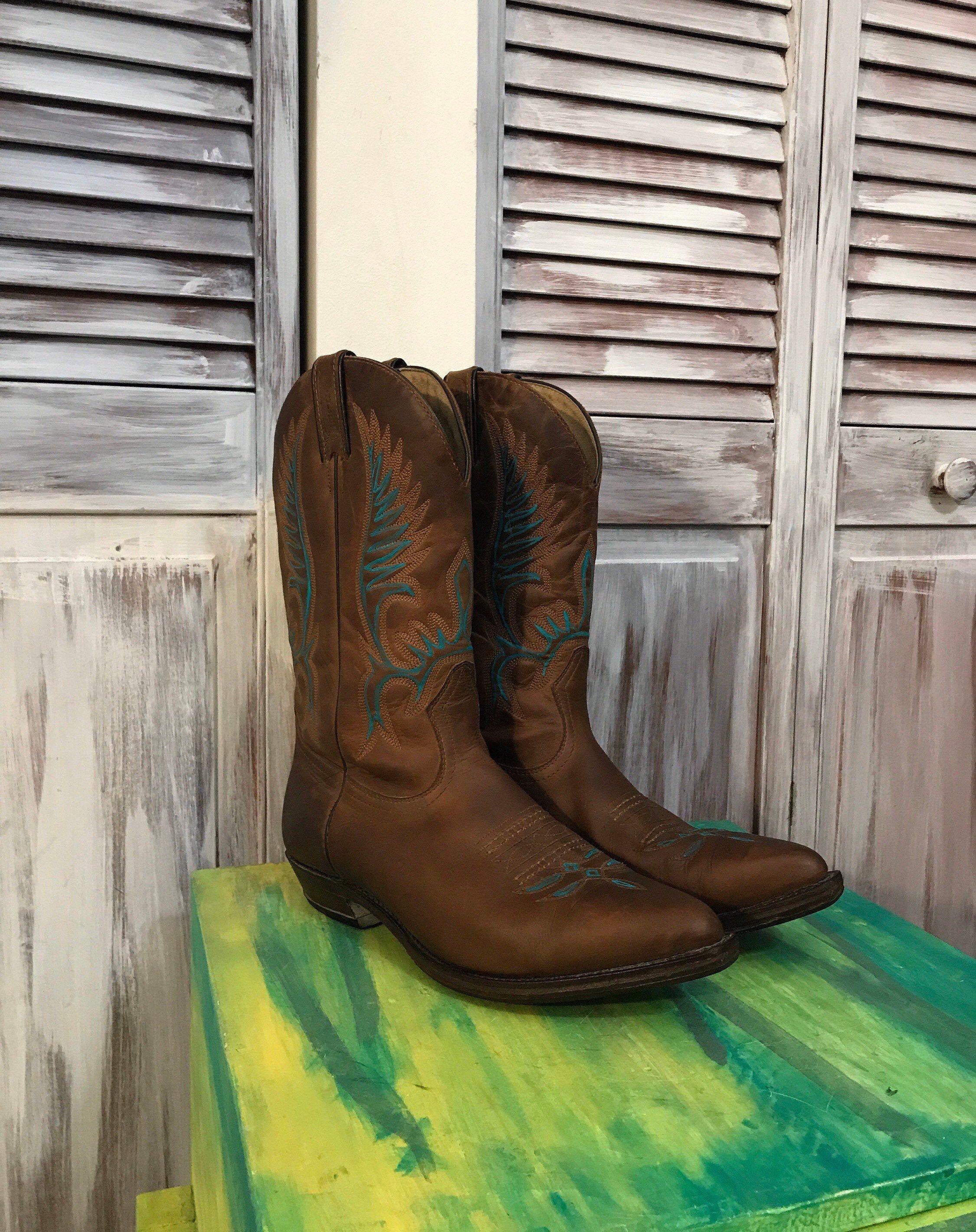 Bottes cowboy western homme vintage Boulet en cuir brun