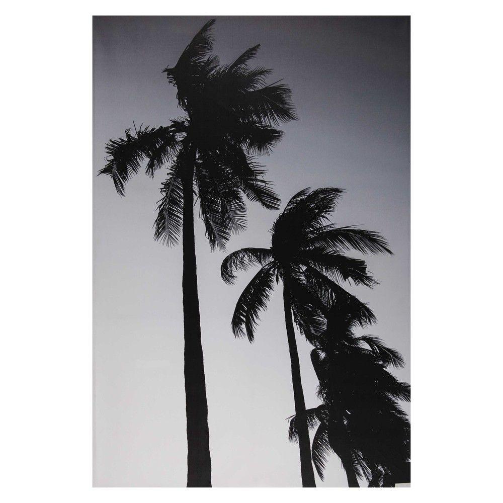 Toile Imprim E Palmier Noir Et Blanc 95x140cm Maisons Du Monde