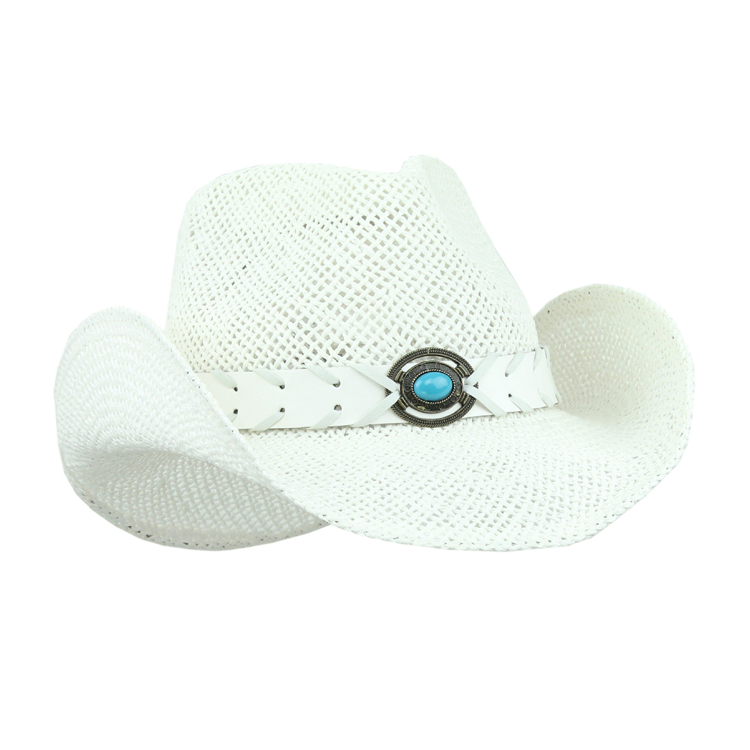 92cc16efad1 Amazon.com  Straw Cowboy Hat for Women with Faux Leather Band and Shapeable  Brim (White)  Sports   Outdoors