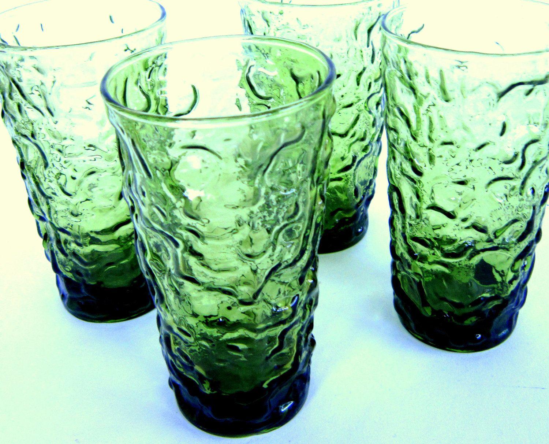 Mid Century Milano Lido Green Crinkle Glasses Anchor Hocking Glassware 1960s Avocado Tumblers Mid Century Glassware Anchor Hocking Glassware Vintage Glassware
