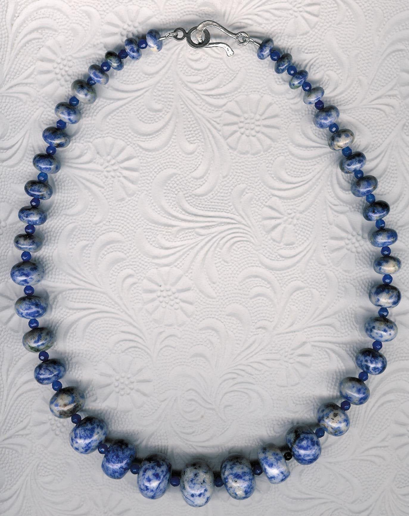 Sodalite, Agate, Sterling Silver Necklace OOAK Unique Bold Blue Denim Gemstone Chunky Southwestern Style