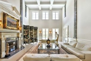 Luxury Transitional White Living Room Box Ceiling Wainscoting Zillow Digs Asian Living Rooms George House Mansions