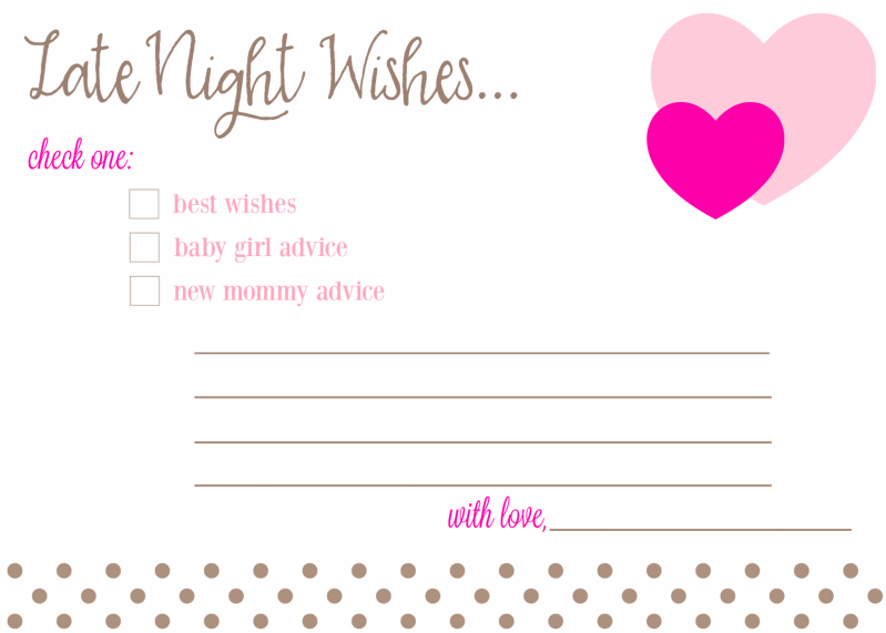 Late Night Wishes Baby Advice Cards For Baby Shower Free Download