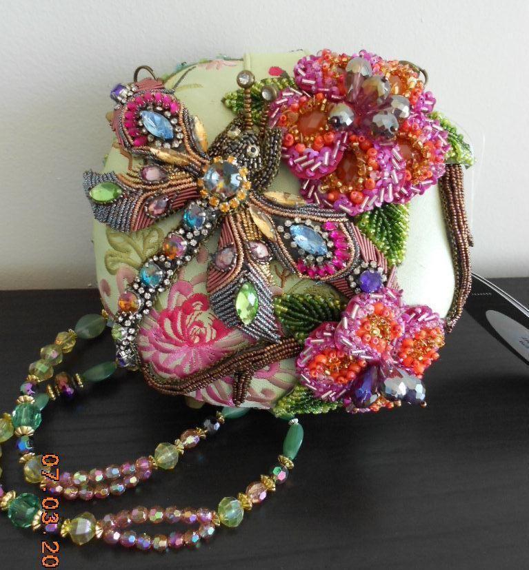 Mary Frances Damsel In Flight Dragonfly Bag Green Flowers Handbag Purse New Maryfrances Eveningbag