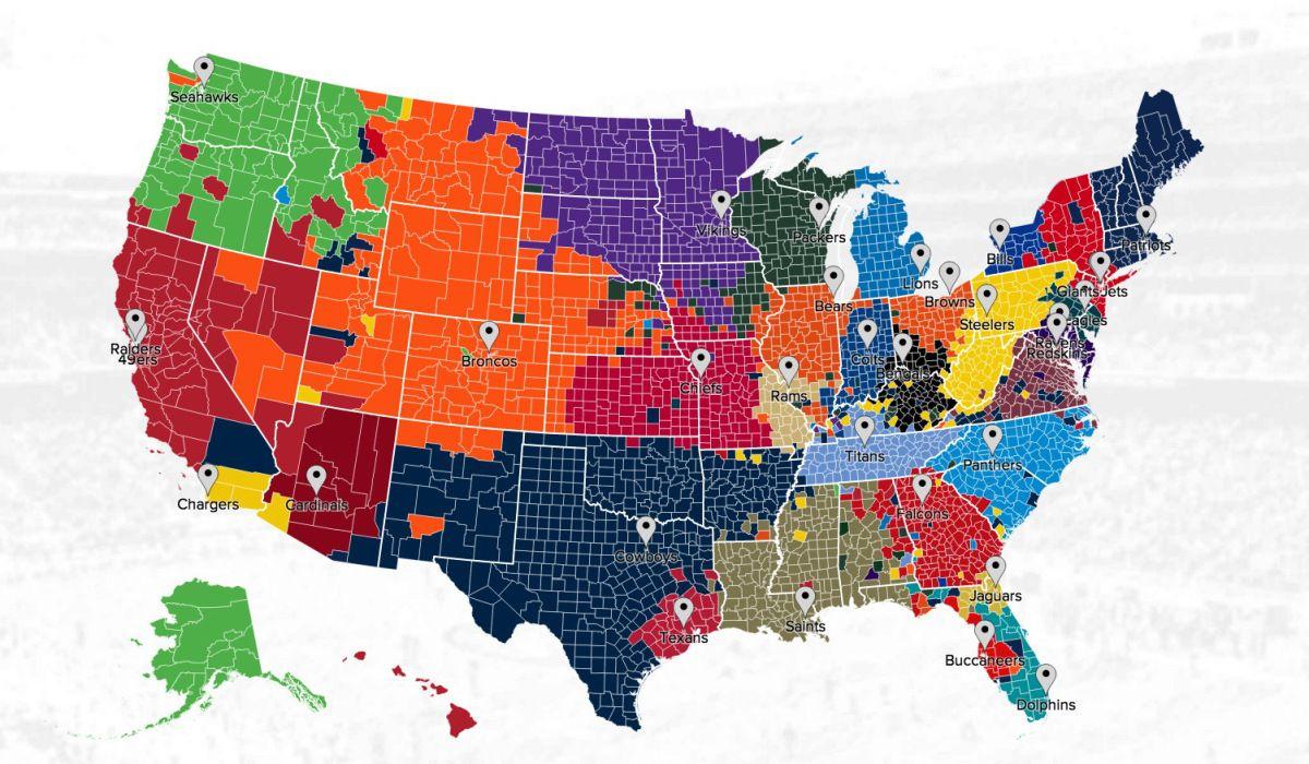 Twitter Map Of Football Fans Nfl Fans Nfl Teams Fantasy Football Logos