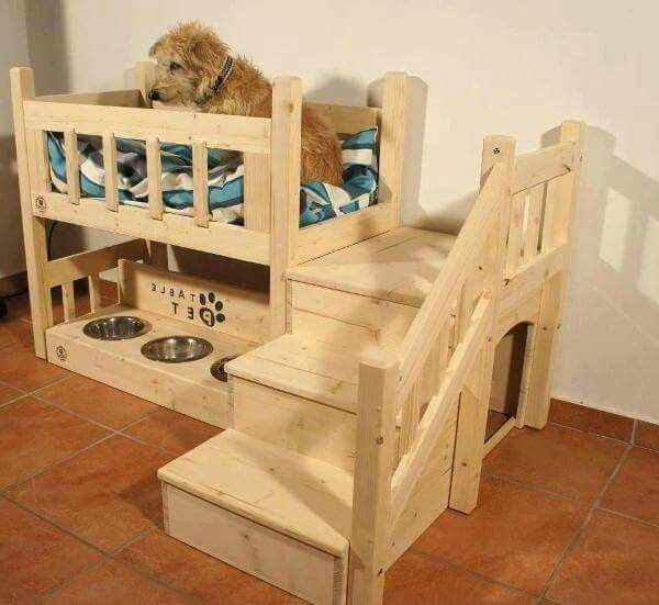 2 Story For Smokey Dog Bed Furniture Dog Bunk Beds Wooden Dog Bed