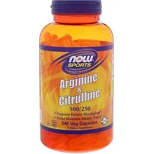 Now Foods スポーツ アルギニン シトルリン ベジカプセル240粒 Now Foods Protein Metabolism Arginine