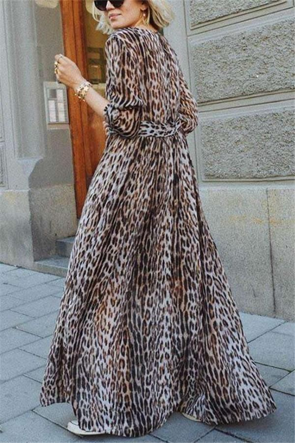 1da46e7641a6 Sexy V-Collar Leopard Print Long-Sleeved Loose Maxi Dress #JoyGos  #StreetStyle