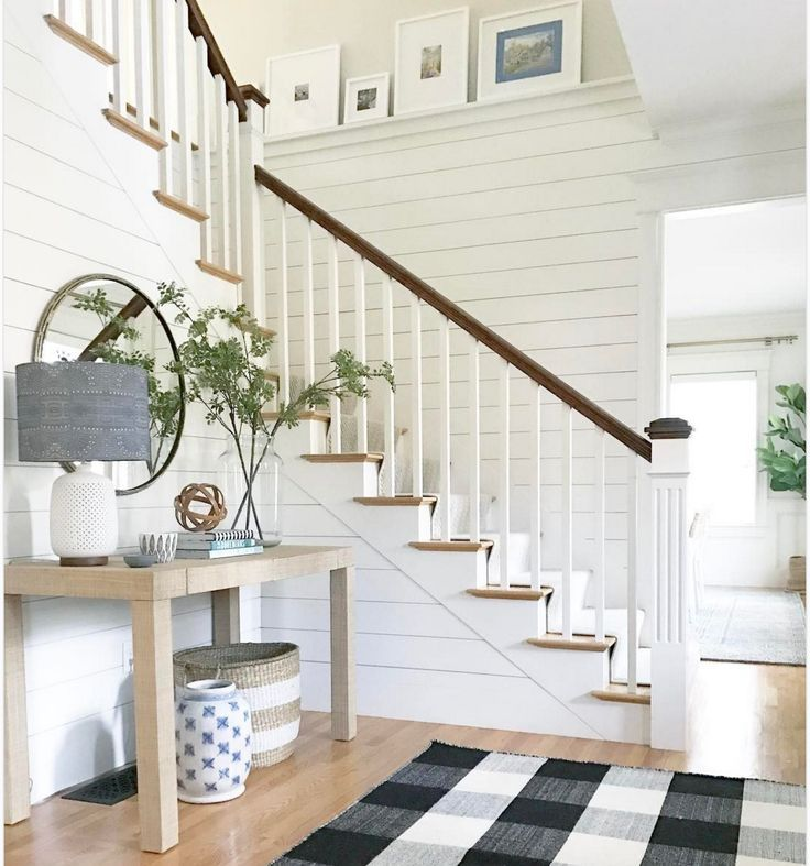 80 Modern Farmhouse Staircase Decor Ideas: Staircase Decor, Foyer Decorating