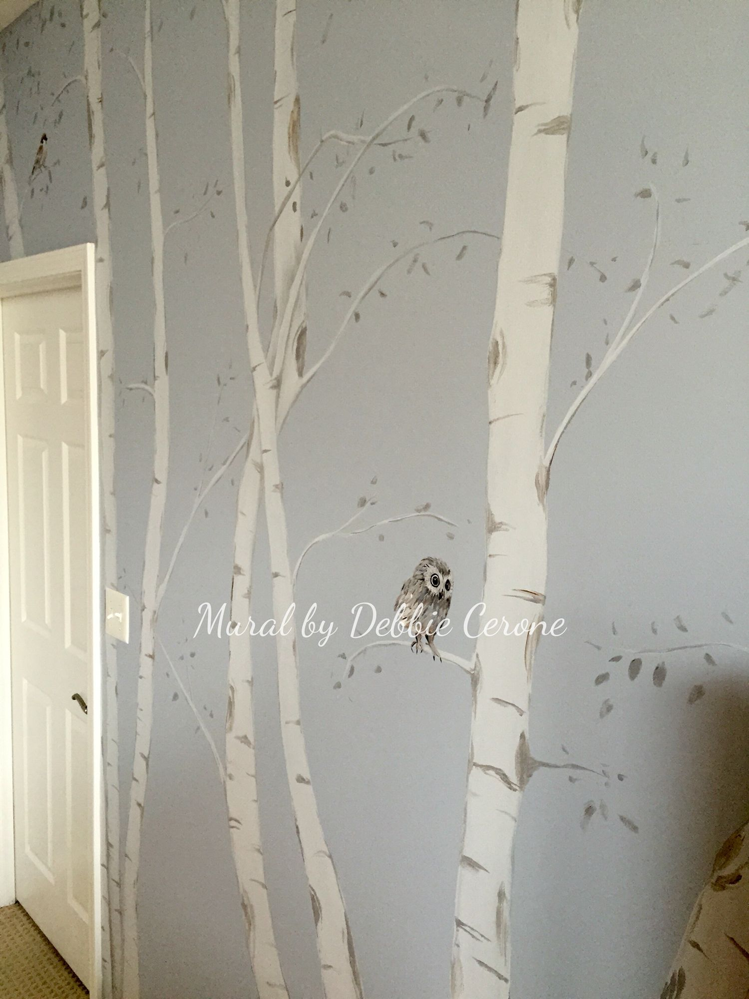 Contemporary birch tree mural with cute baby owl and birds for Birch trees mural
