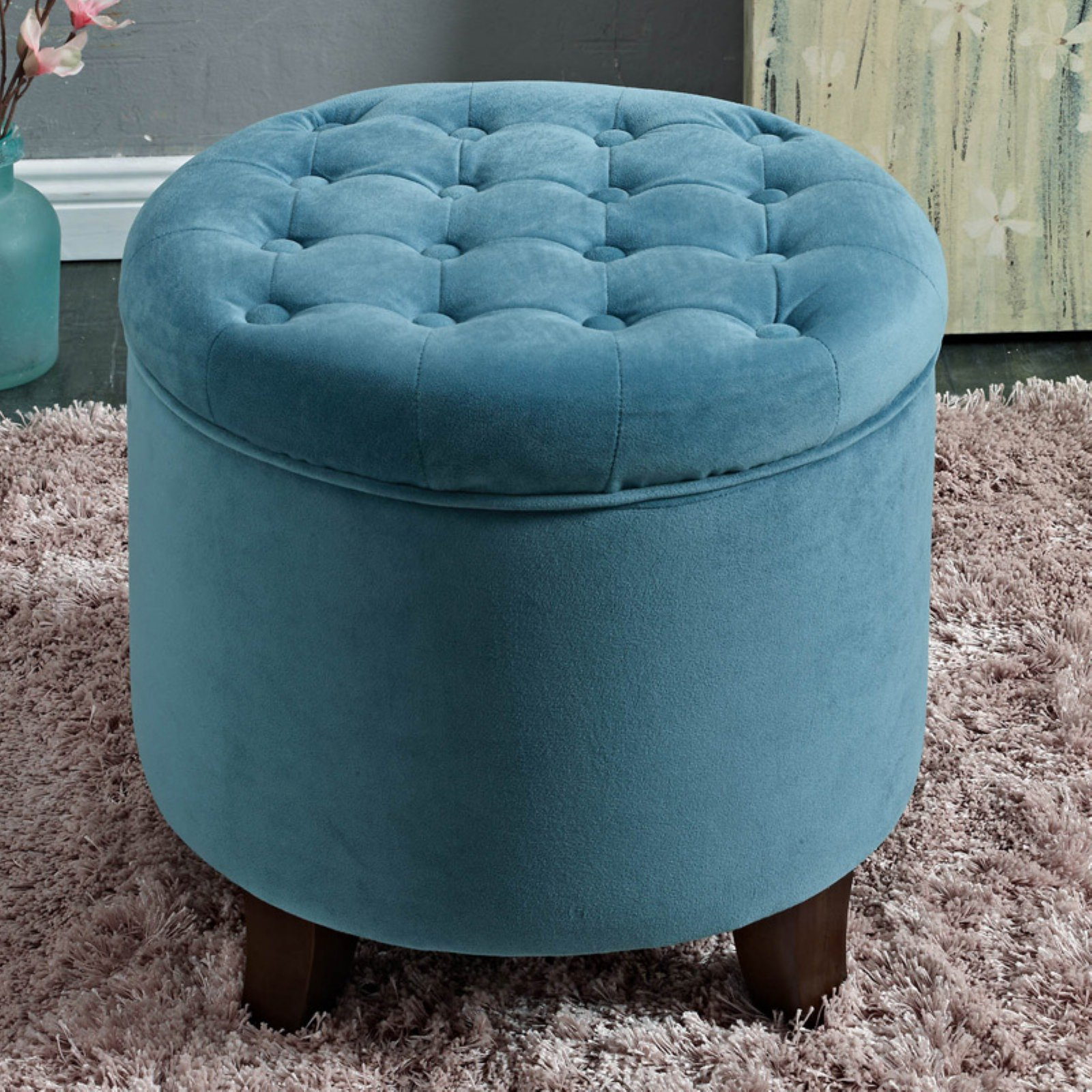 Fantastic Kinfine Usa Large Round Button Tufted Storage Ottoman Aqua Machost Co Dining Chair Design Ideas Machostcouk