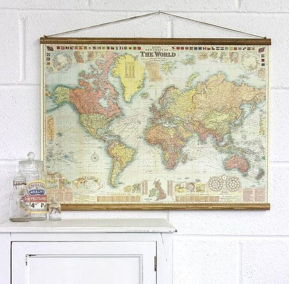 transport yourself to another time and place with these vintage world map posters made into traditional