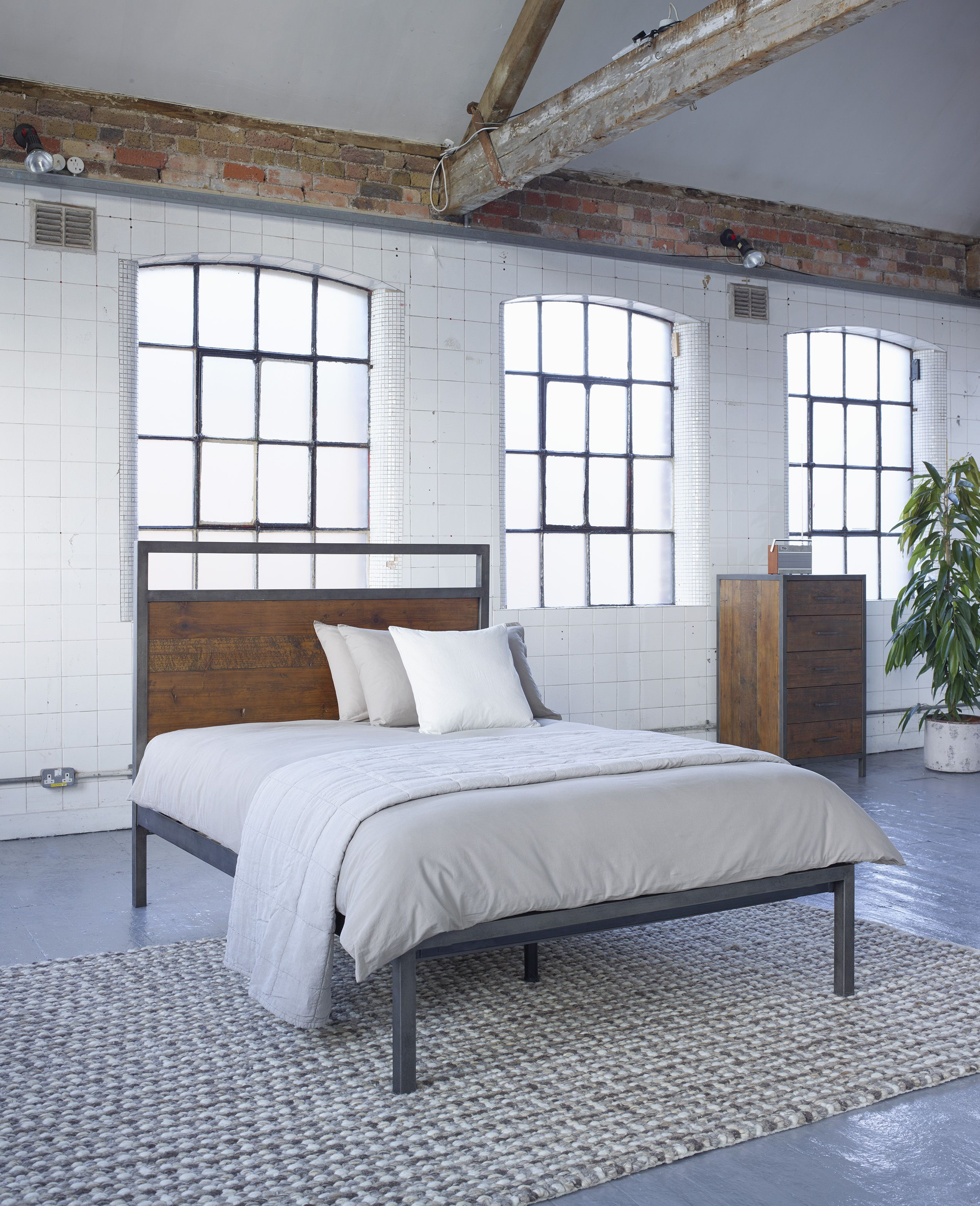 industrial style bedroom furniture. baxter square bed - industrial warehouse vintage style bedroom furniture from lombok e