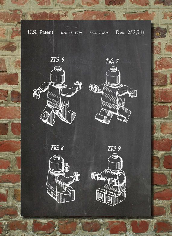 Lego Mini Figure Patent Wall Art Poster This patent poster is ...